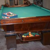 Vintage 9ft Wood Pool Table Includes Accessories (SOLD)