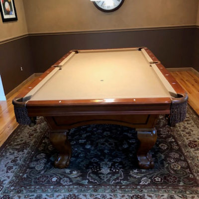 Regulation pool table with cues, rack and art